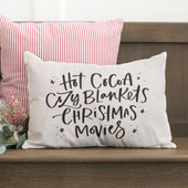 Hot Cocoa, Cozy Blankets, Christmas Movies Pillow Cover