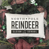North Pole Reindeer Lumbar Pillow Cover