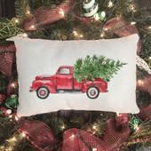 Farmhouse Red Truck Christmas Pillow
