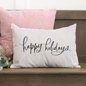 Happy Holidays Farmhouse Christmas Pillow