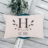 Initial Established Date Pillow Cover