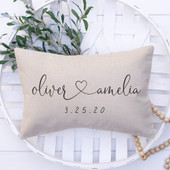 Personalized Pillow Wedding Gift Script Heart Names