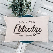 Custom Mr and Mrs Last Name Lumbar Pillow