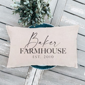 Last Name Farmhouse Lumbar Pillow