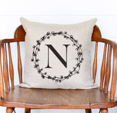 Farmhouse Initial Wreath Pillow