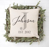 Personalized Family Name Throw Pillow Cover