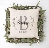 farmhouse monogram floral pillow