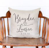 Couples Name Personalized Throw Pillow Wedding Gift