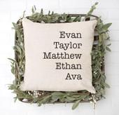 Custom Grandkids Name Throw Pillow Cover
