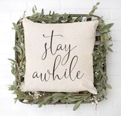 Stay Awhile Guest Bedroom Throw Pillow