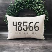 Housewarming Gift Zip Code Throw Pillow