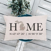 Home Coordinates State With Heart Pillow