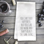 You Can't Buy Happiness But You Can Buy Wine Funny Tea Towel