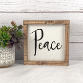 Peace Farmhouse Christmas Wood Sign