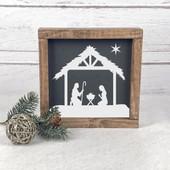 Manger Scene Farmhouse Christmas Sign