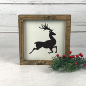 Reindeer Farmhouse Christmas Sign