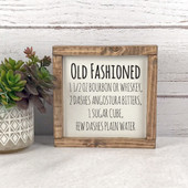 Old Fashioned Cocktail Recipe Sign Bar Decor