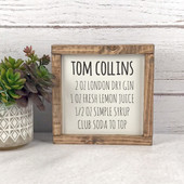Tom Collins Cocktail Recipe Sign Bar Decor