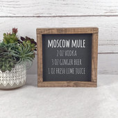 Moscow Mule Cocktail Recipe Sign Bar Decor