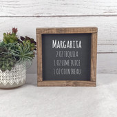 Margarita Cocktail Recipe Sign Bar Decor