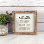 Margarita Cocktail Recipe Sign Bar Decor