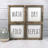 Set of 4 Farmhouse Laundry Room Signs | Wash Dry Fold Repeat