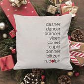 reindeer names throw pillow
