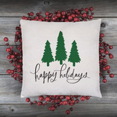Happy Holidays Christmas Throw Pillow