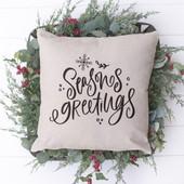 seasons greetings christmas pillow cover