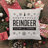 north pole reindeer sleigh school pillow