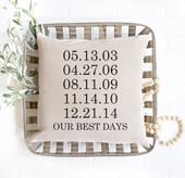 Important Dates Custom Farmhouse Pillow