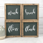 Set of 4 Farmhouse Bathroom Signs | Wash Brush Flush Floss