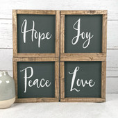 Set of 4 Farmhouse Wood Signs | Hope Joy Peace Love