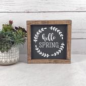 Hello Spring Wood Farmhouse Sign