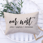 our nest personalized throw pillow