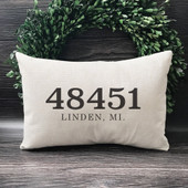zip code throw pillow