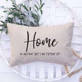 home gps coordinates throw pillow