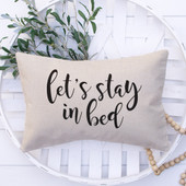 let's stay in bed lumbar throw pillow
