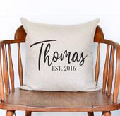 last name established pillow