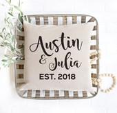 names established date throw pillow, wedding gift