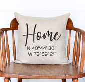 home gps coordinates throw pillow cover