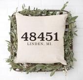 zip code throw pillow, realtor gifts, housewarming gift