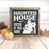 Haunted House Halloween Decor Sign