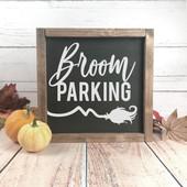 broom halloween wood sign