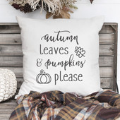 autumn leaves and pumpkins please throw pillow