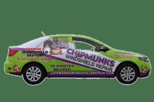 Kia Car Wrap using GF for Chipmunks Windshield Repair
