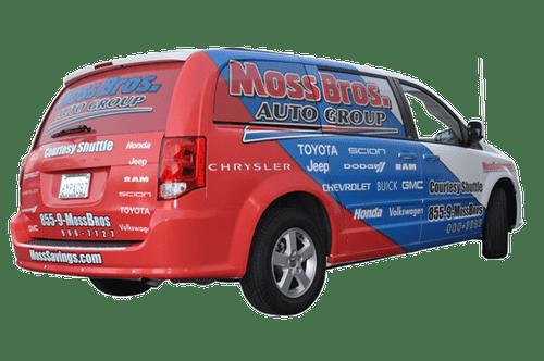 Dodge Caravan Van Wrap using GF For Moss Brothers Dealerships