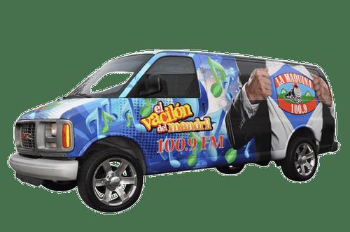 Chevy Van using GF for La Maquina 100.9 Radio Station