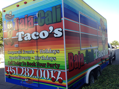 20' FOOD TRAILER GLOSS VEHICLE WRAPS WITH CUSTOM DESIGN