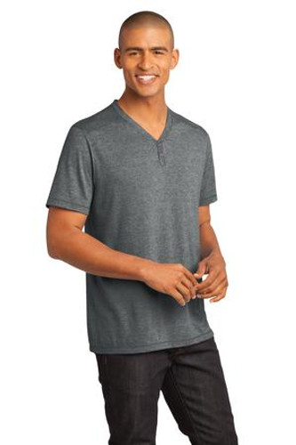 District Made™ - Mens Tri-Blend Short Sleeve Henley Tee.